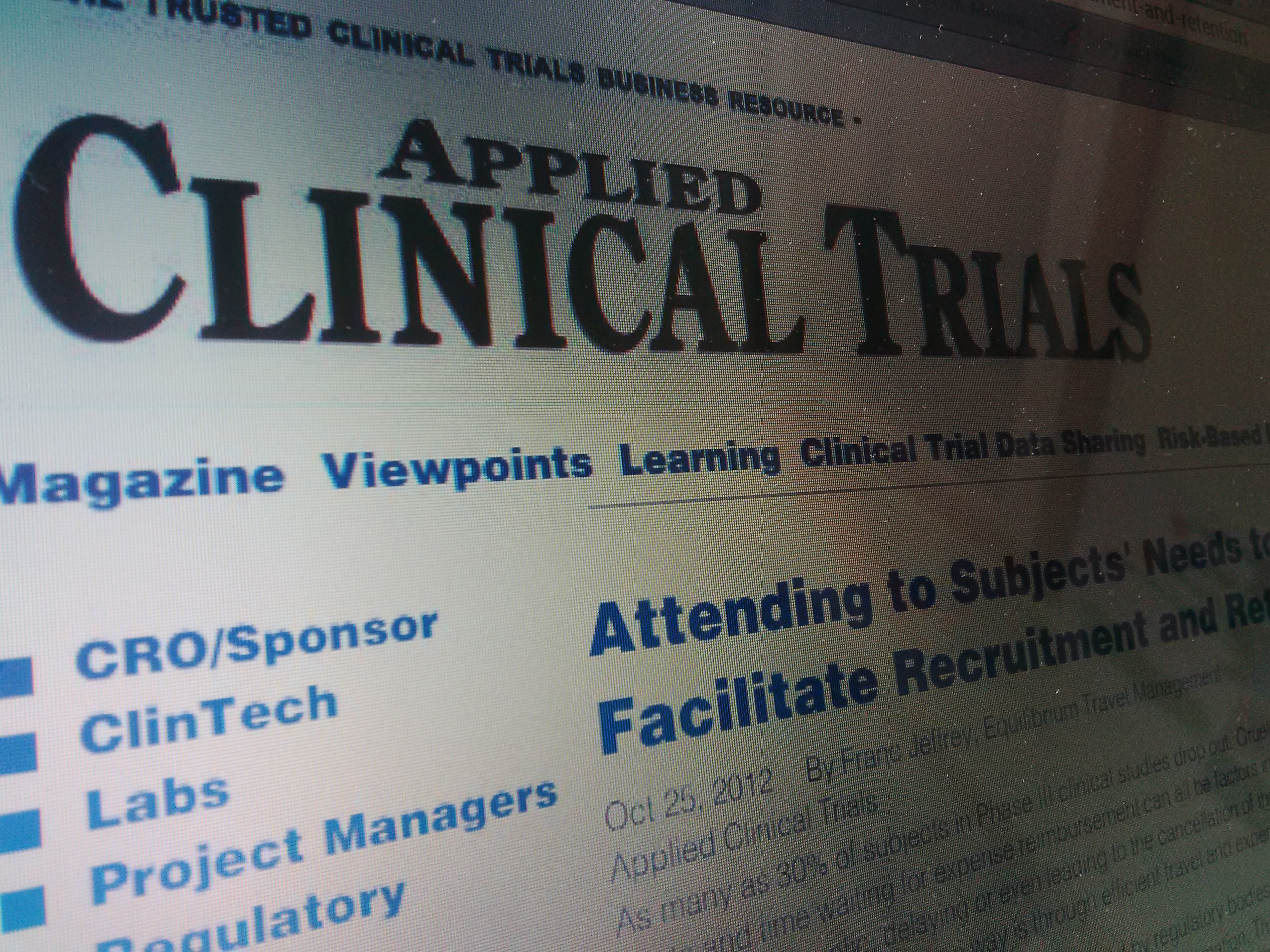 Applied Clinical Trial Magazine - Franc Jeffrey White Paper