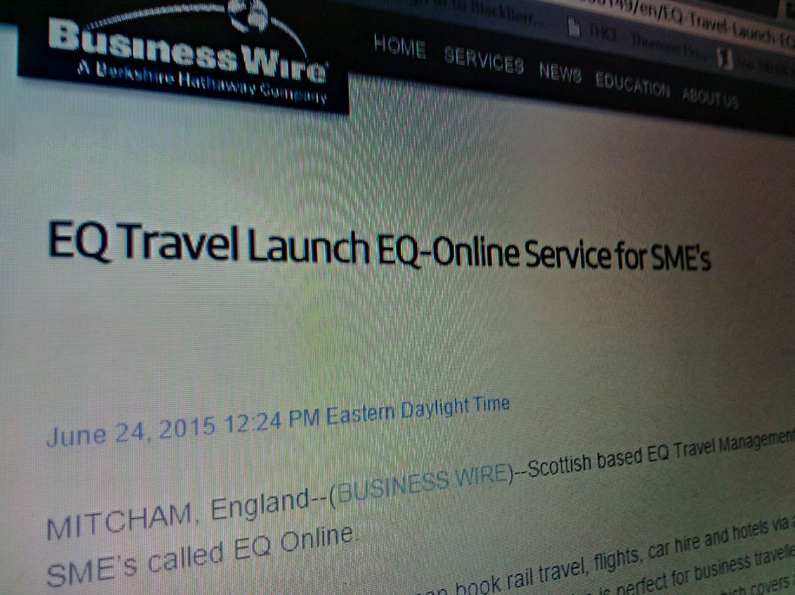 EQ online in business wire news